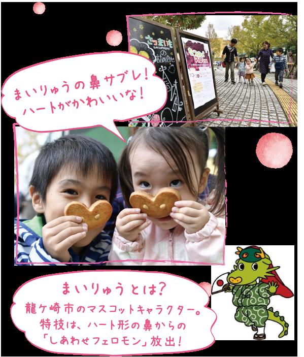 まいりゅうの鼻サブレ!ハートがかわいいな!※まいりゅうとは、龍ケ崎市のマスコットキャラクター。特技は、ハート形の鼻からの「しあわせフェロモン」放出!