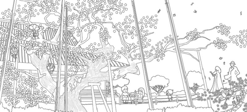 【般若院のシダレザクラ全応募作品】「妖怪人間ベムの龍ケ崎さんぽ」塗り絵コンテスト